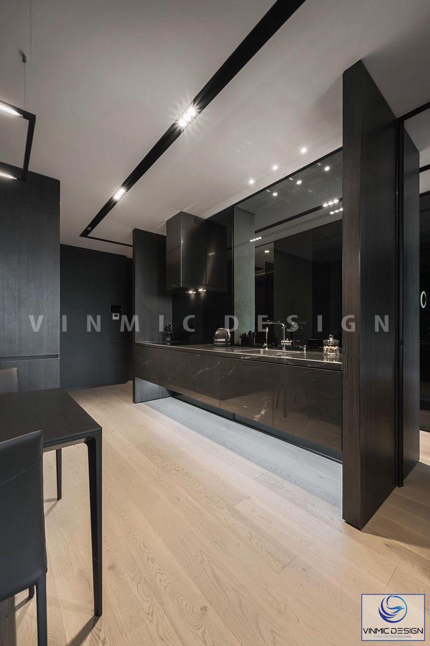 Thiết kế nội thất tủ bếp sáng bóng