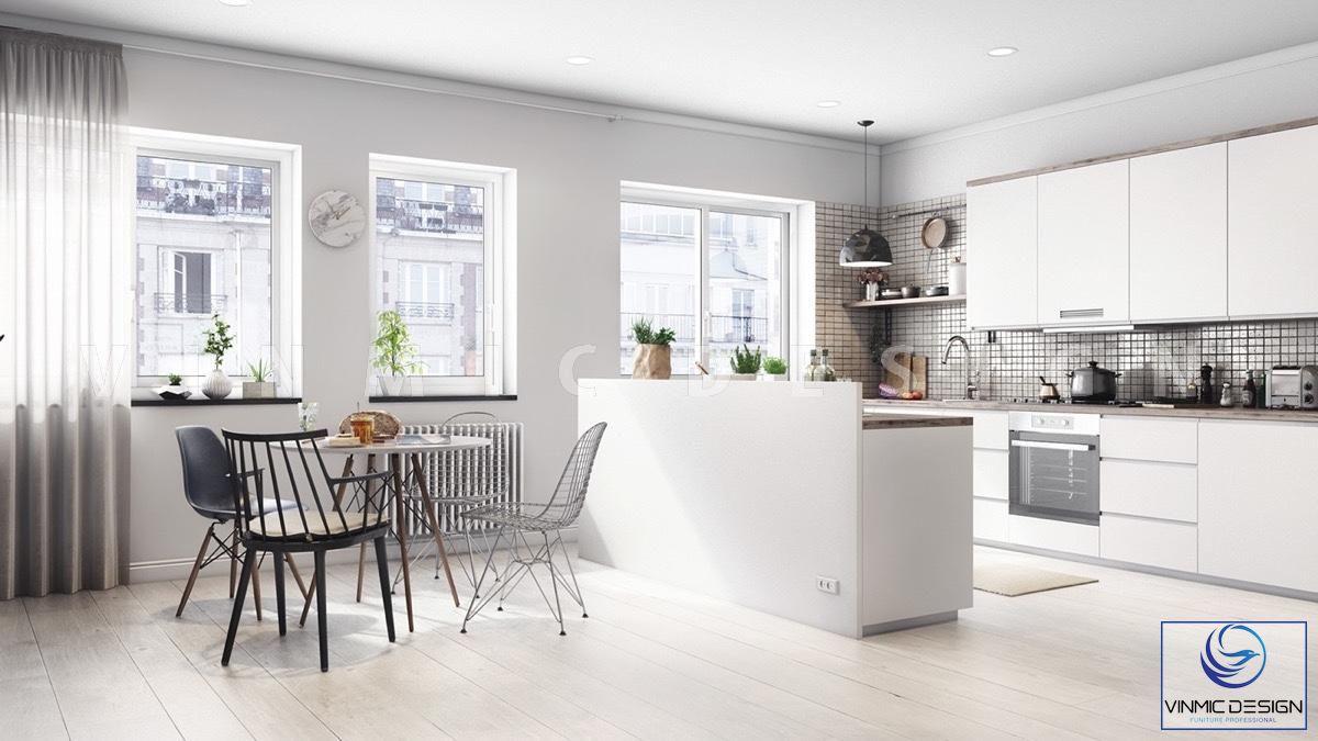Thiết kế tủ bếp phong cách scandinavian tạo không gian thoáng mát, tươi mới