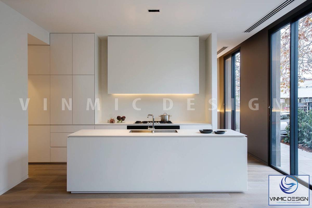 Phong cách scandinavian được thể hiện màu trắng  giúp không gian bếp trông thoáng đạt hơn.