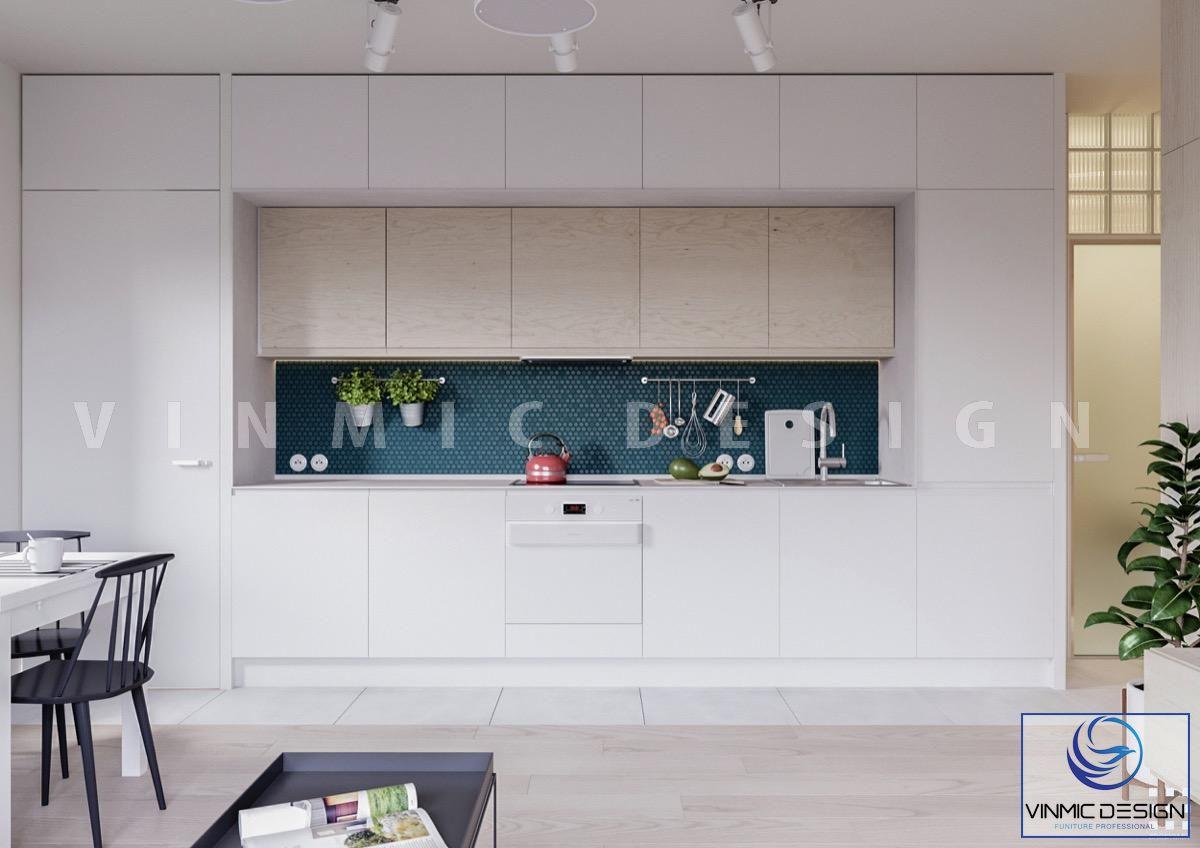 Thiết kế tủ bếp đơn giản chất liệu và kiểu dáng