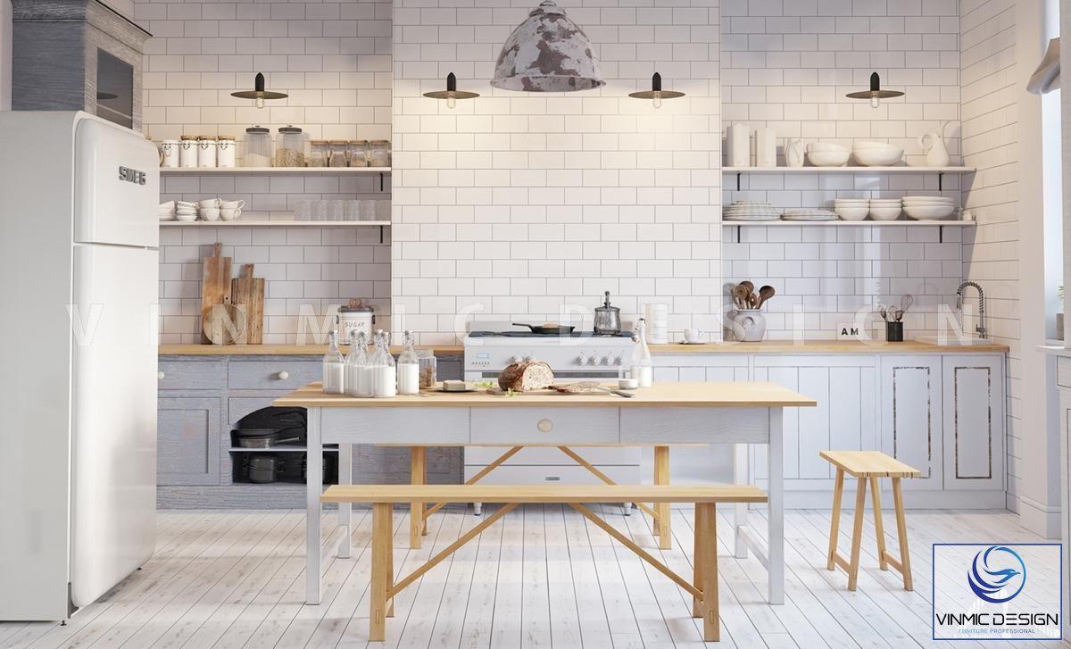 Thiết kế nội thất tủ bếp mộc mạc, tiện ích cho gia chủ