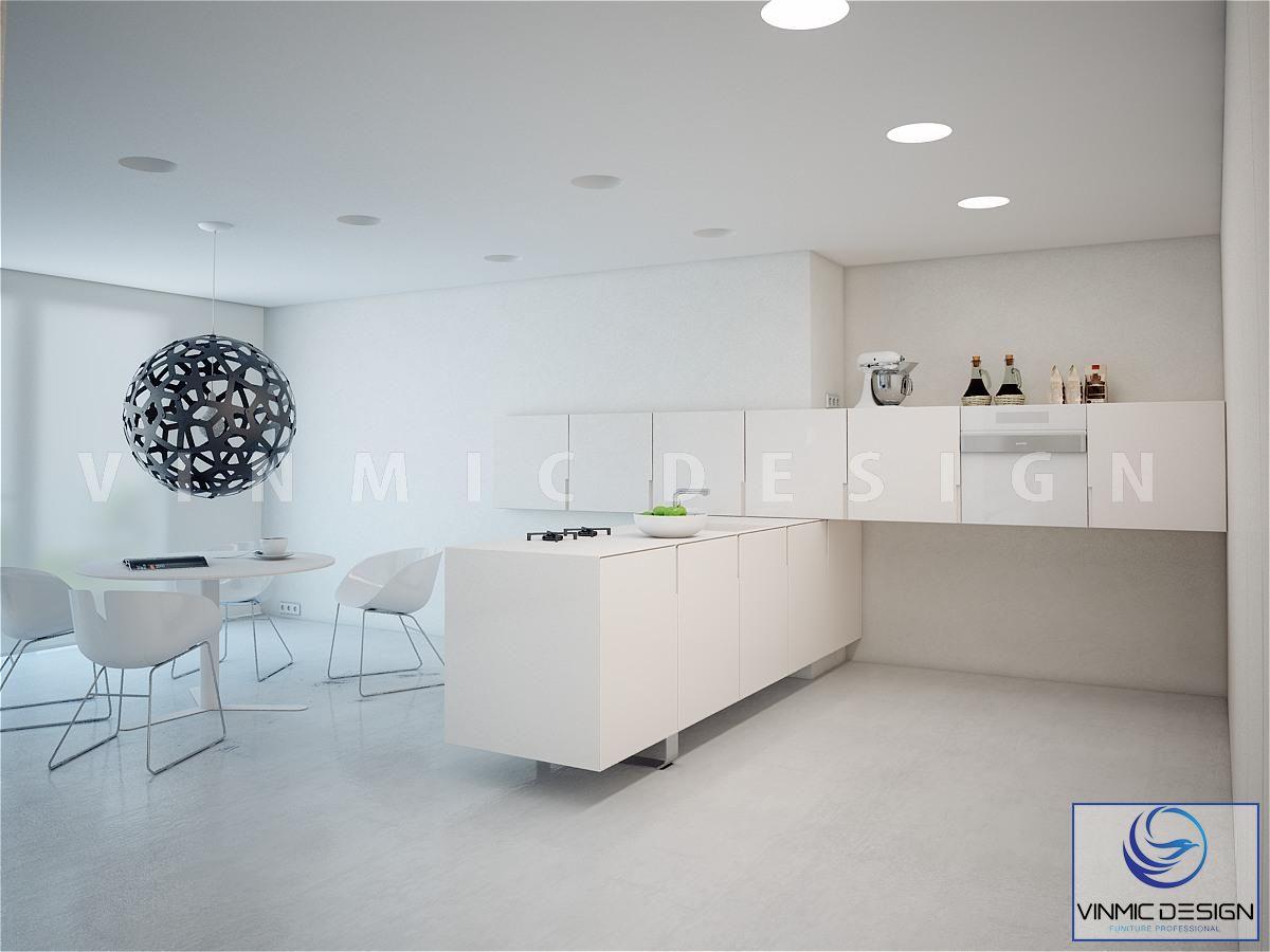 Thiết kế tủ bếp scandinavian đơn giản và tông màu trắng đẹp mắt