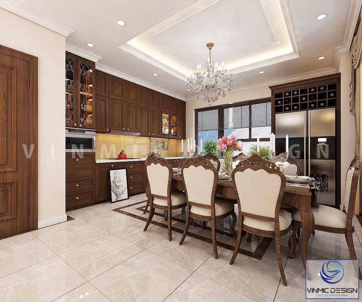 Gỗ Sồi làm tôn lên vẻ đẹp sang trọng không gian phòng bếp
