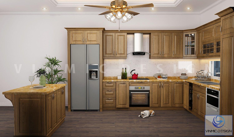 Tủ bếp được thiết kề bằng chất liệu Sồi Nga