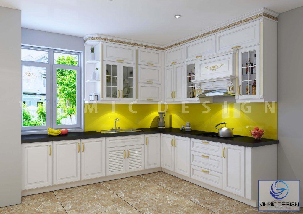 Thiết kế tủ bếp với từng chi tiết tay nắm tỉ mỉ