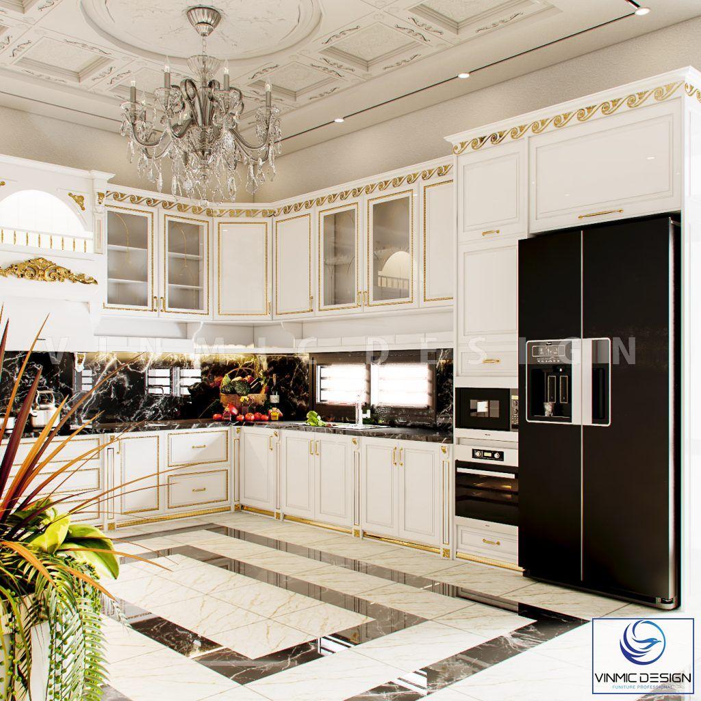 Thiết kế tủ bếp tân cổ điển sang trọng