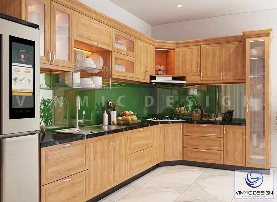 Thi công tủ bếp tân cổ với gỗ Sồi tự nhiên