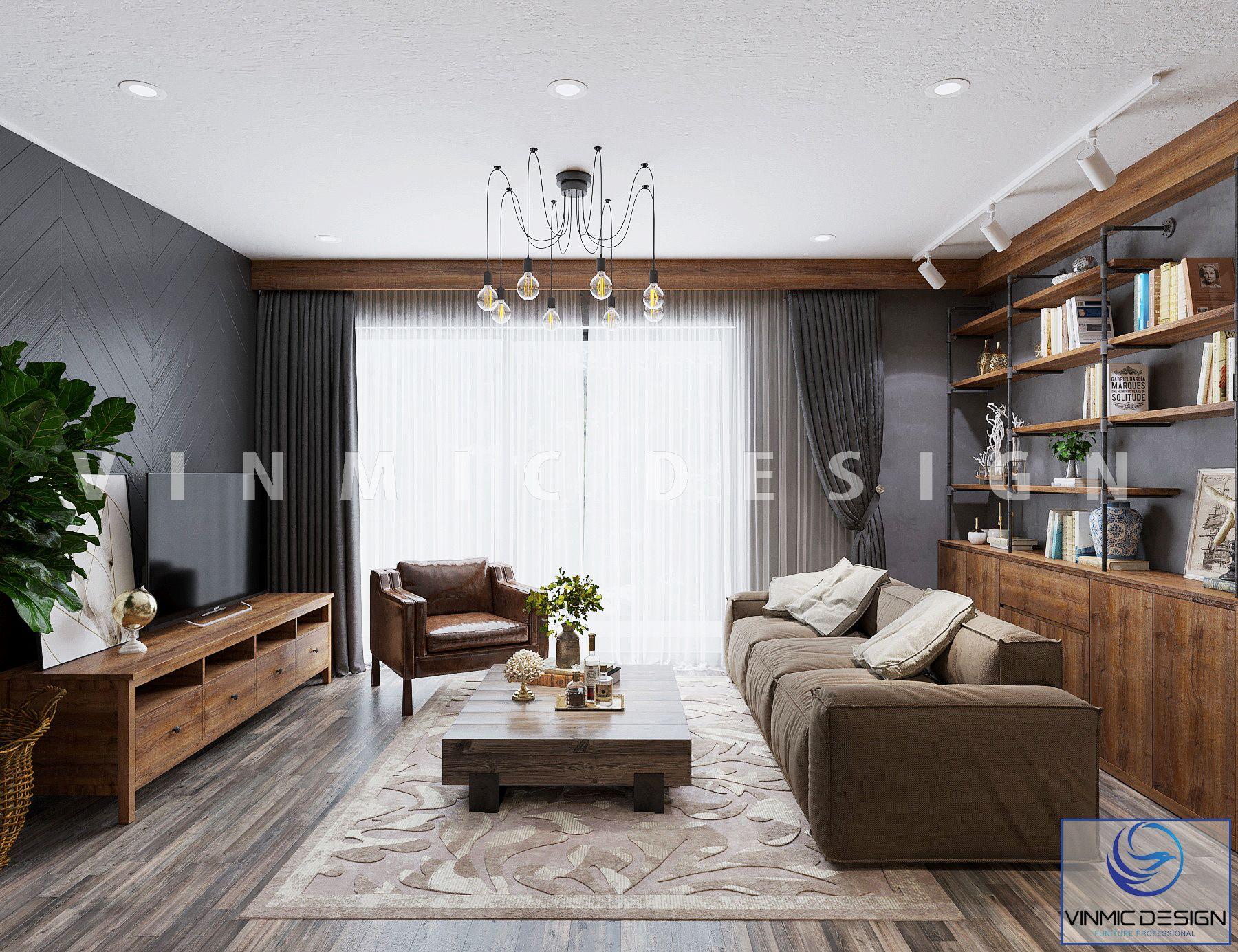 Bộ sofa ấn tượng với chất liệu gỗ Sồi được thể hiện ở phòng khách