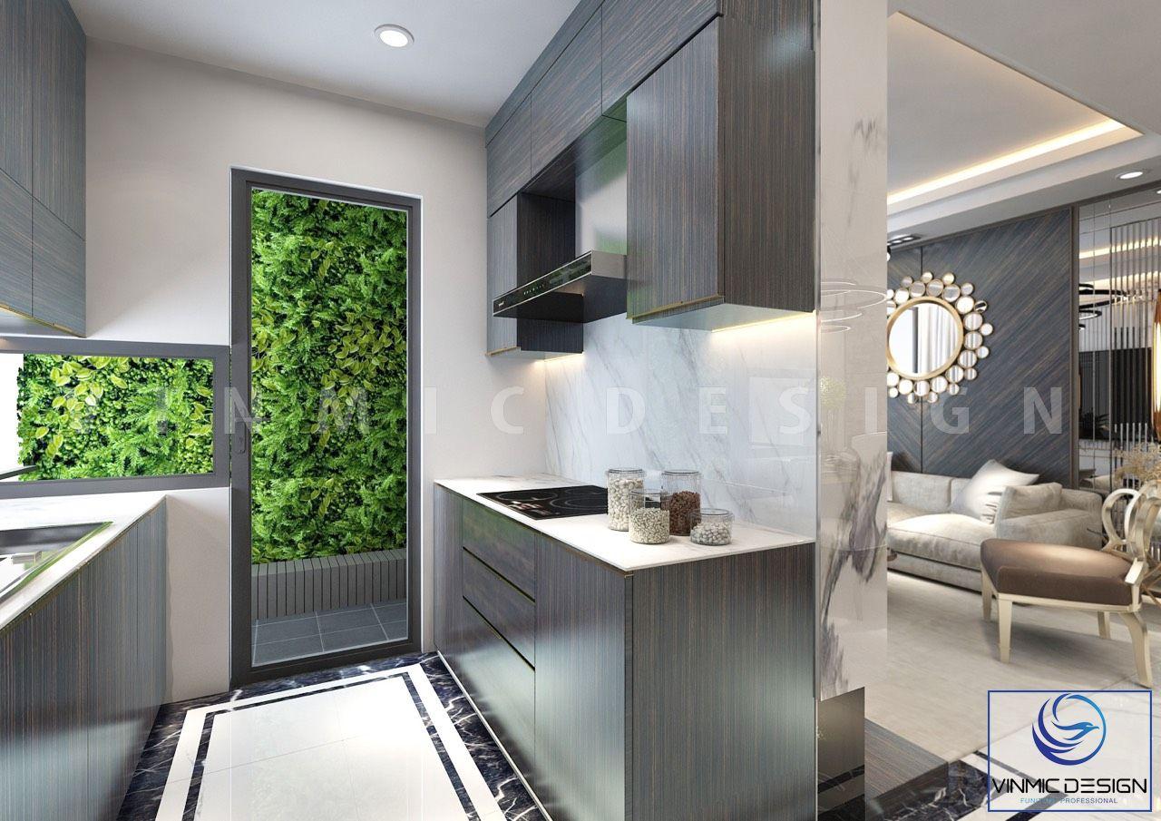 Phòng bếp gọn gàng chất liệu gỗ Melamine