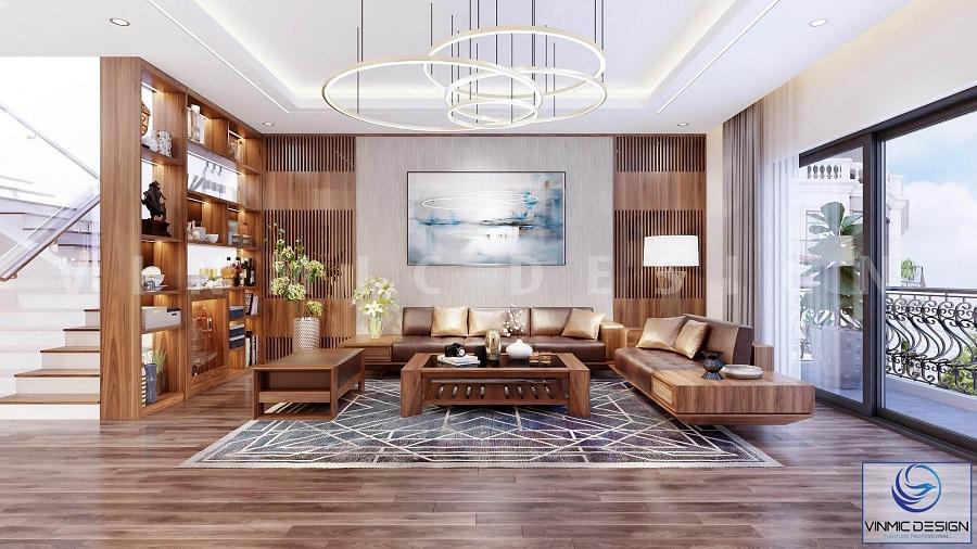 Chất liệu gỗ sồi Nga làm tôn lên vẻ đẹp cho phòng khách