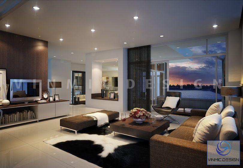 Tông màu ma mị cho lối thiết kế phòng khách biệt thự