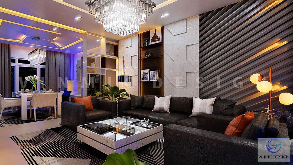 Tông màu rực rỡ ấn tượng cho phòng khách biệt thự