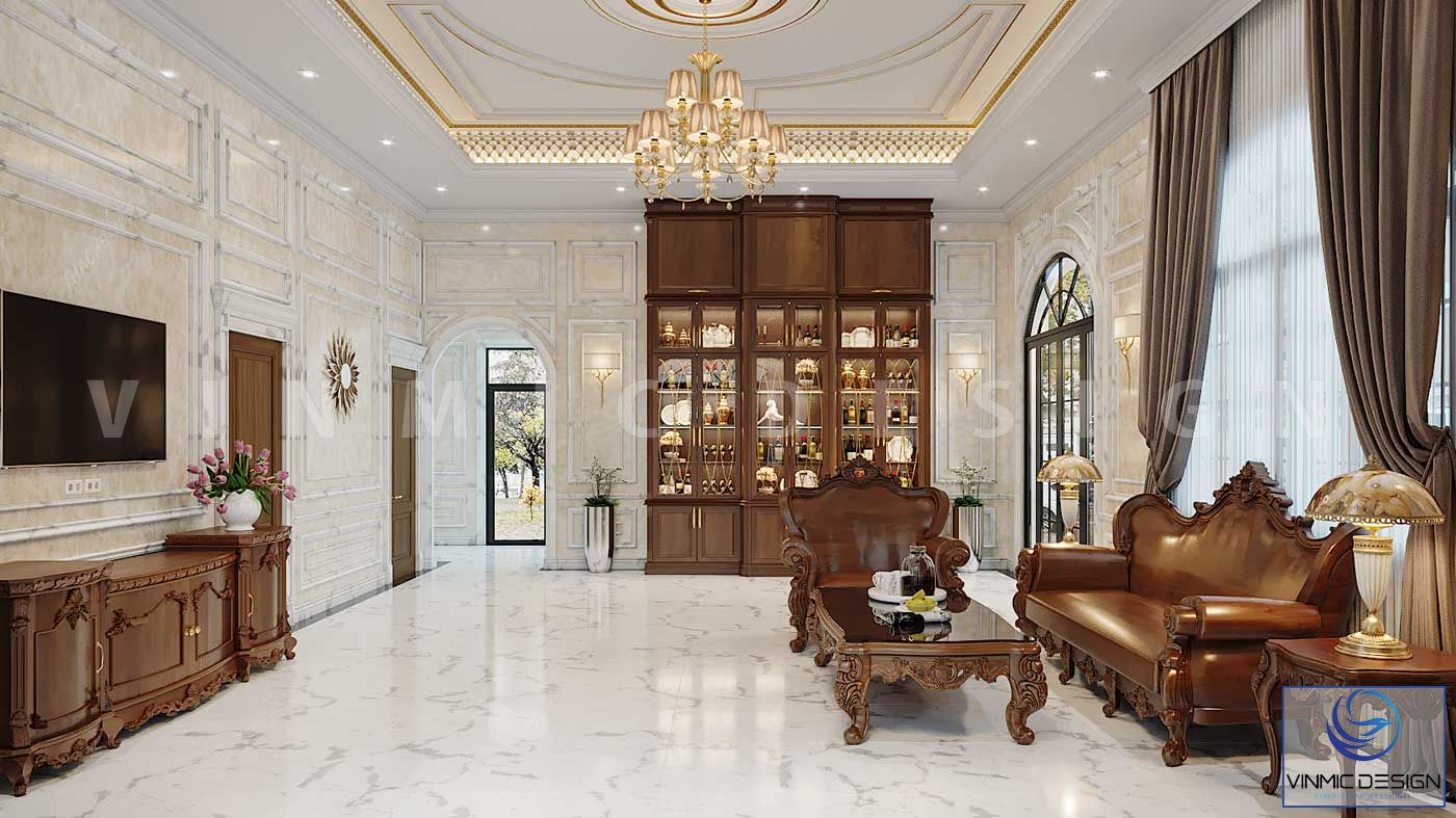 Thiết kế nội thất phòng khách biệt thự sang trọng với bộ gõ đỏ