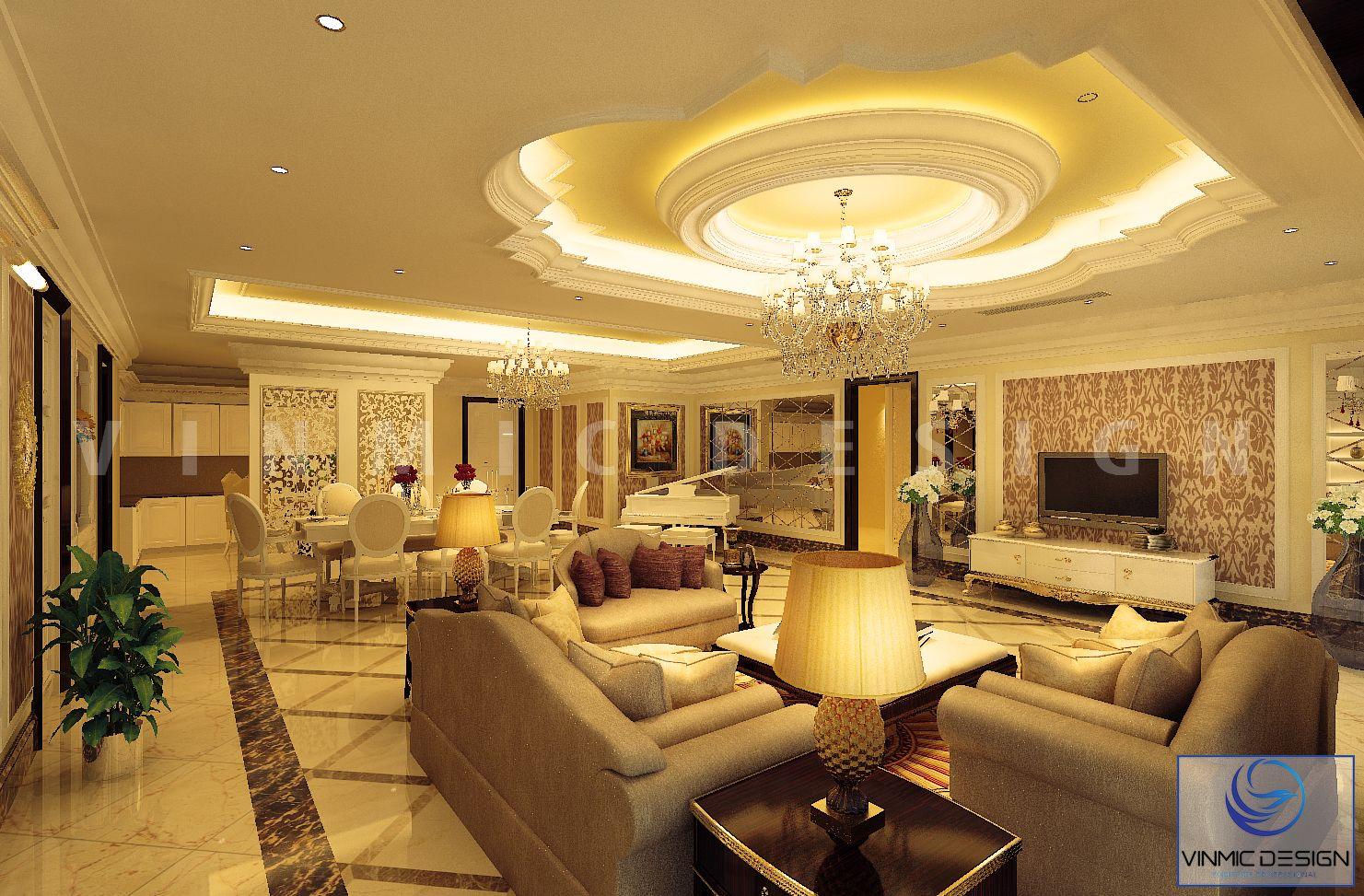 Không gian khách-bếp với ánh sáng đèn sang trọng