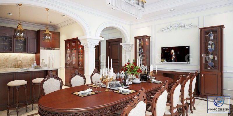 Phòng khách-bếp được ấn tượng với bộ bàn ăn gỗ tự nhiên