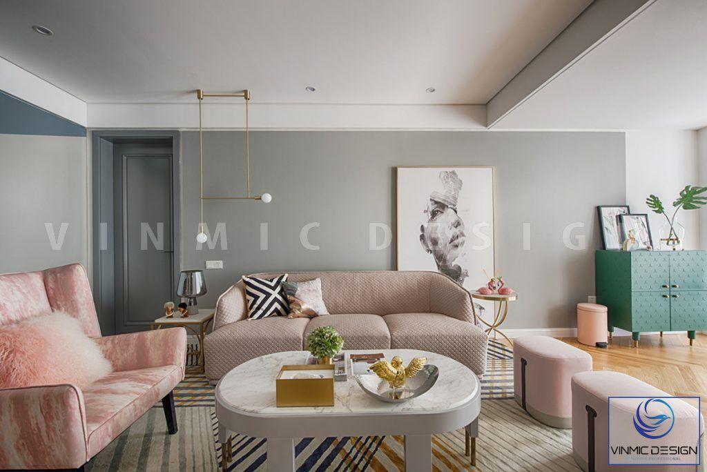 Tông màu hiện đại được thể hiện ở thiết kế phòng khách