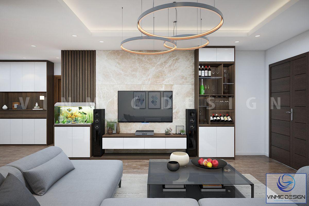Chất liệu gỗ công nghiệp đơn giản cho phòng khách