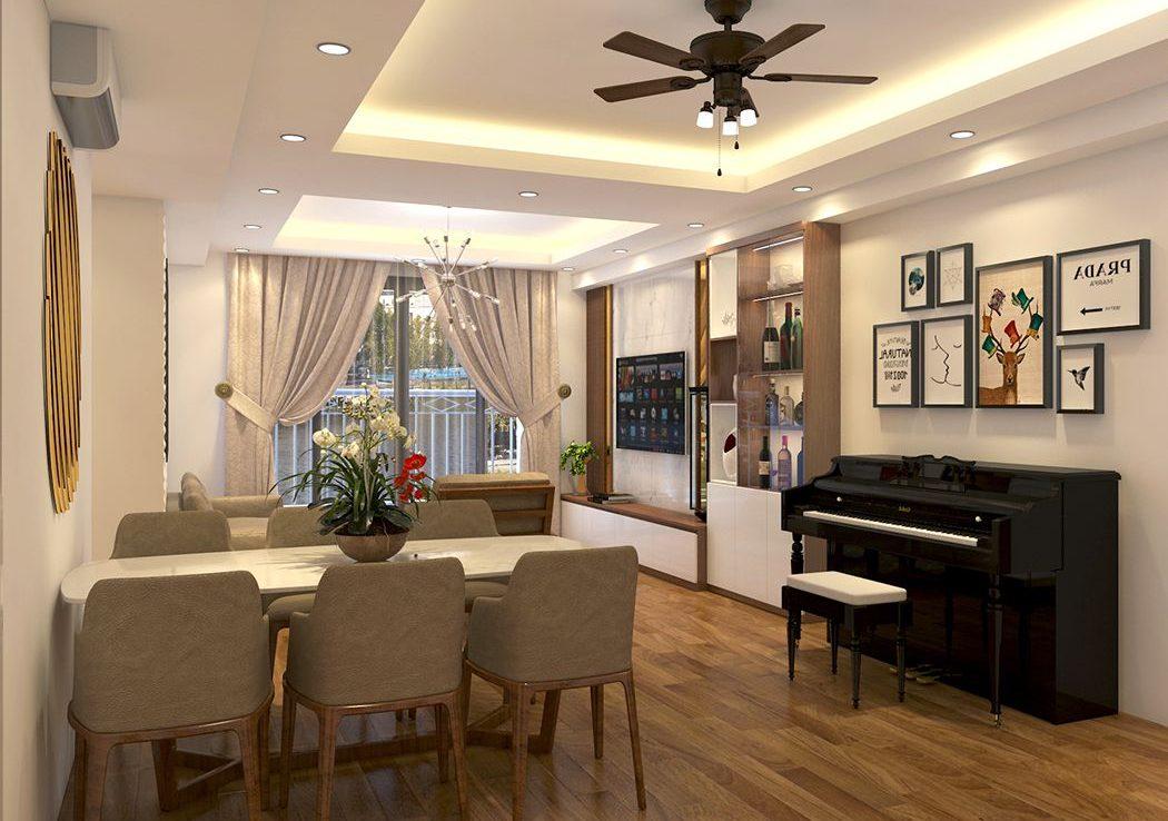 Thiết kế phòng khách chung cư hiện đại, ấm cúng