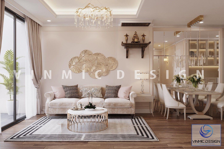 Thiết kế nội thất phòng khách chung cư mang đậm chât tân cổ