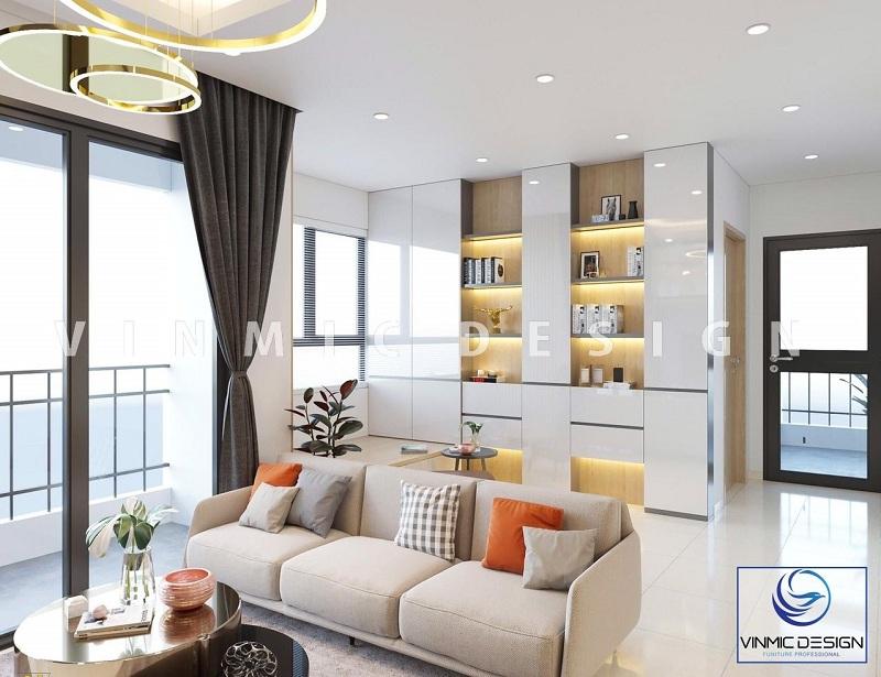 Thiết kế nội thất phòng khách với hướng trẻ trung, hiện đại và tận dụng nguồn sáng tự nhiên và ánh sáng nhiều tối đa