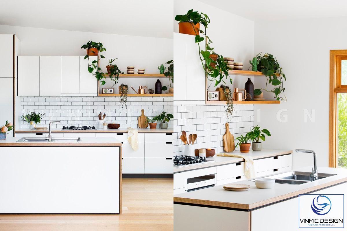 Thiết kế tủ bếp scandinavian với chất liệu và kiểu dáng nội thất tạo nên một không gian bếp tinh tế và quyến rũ.