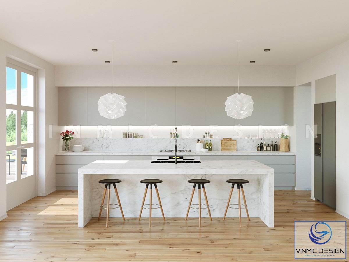 Thiết kế tủ bếp scandinavian với bộ bàn đá nhận tạo đẳng cấp