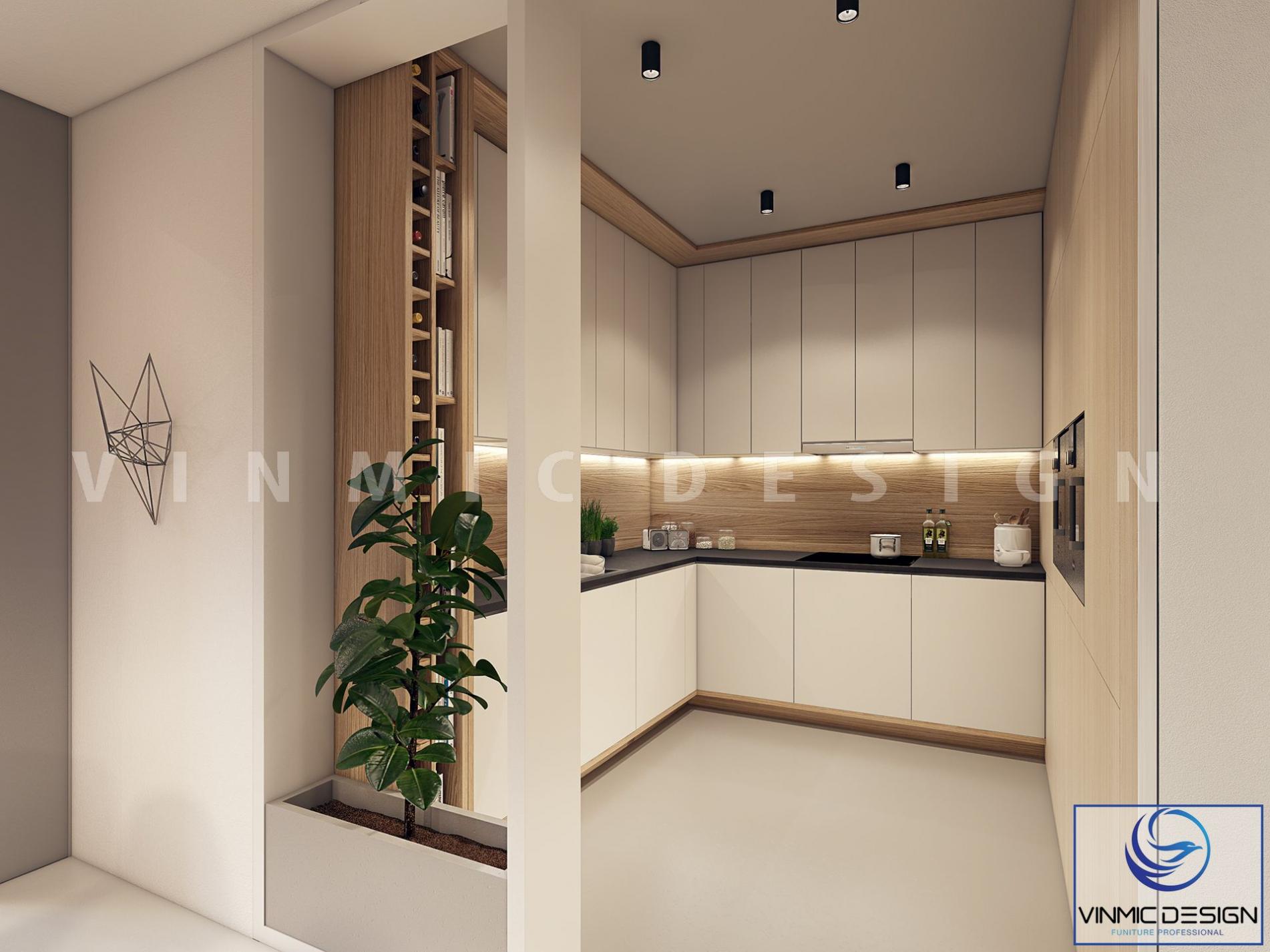 Không gian tủ bếp ấm cúng