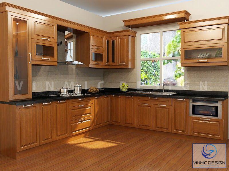 Thiết kế tủ bếp tân cổ điển bằng chất liệu Gỗ Óc Chó