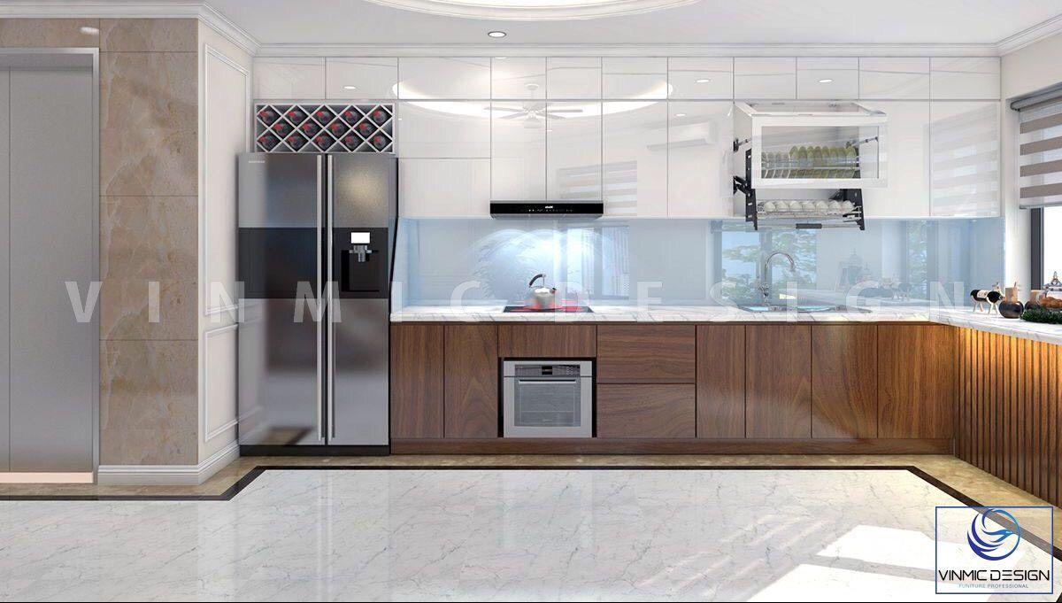 Không gian phòng bếp kết hợp ánh sáng thiên nhiên