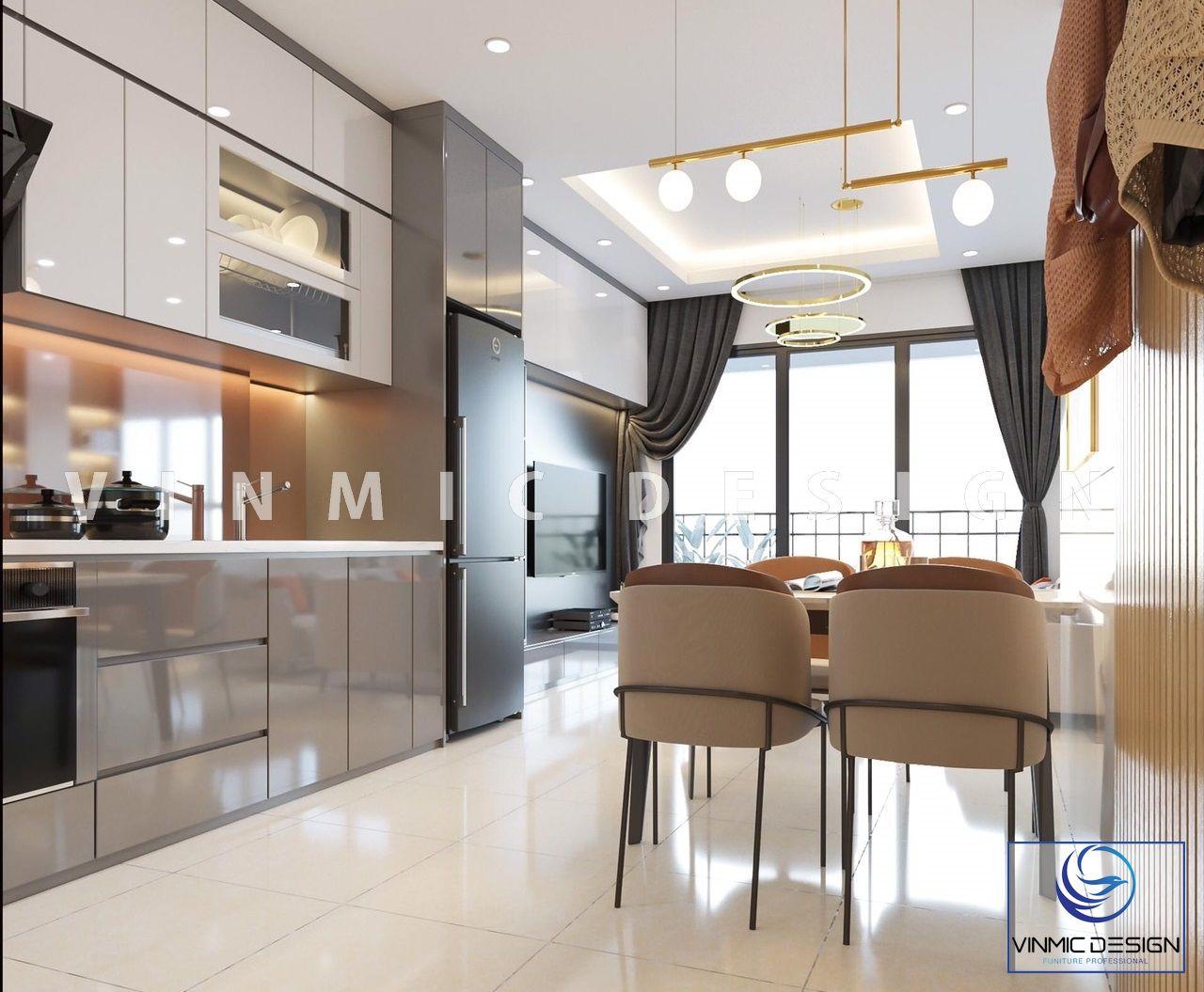 Chất liệu bề mặt Acrylic cho thiết kế tủ bếp này
