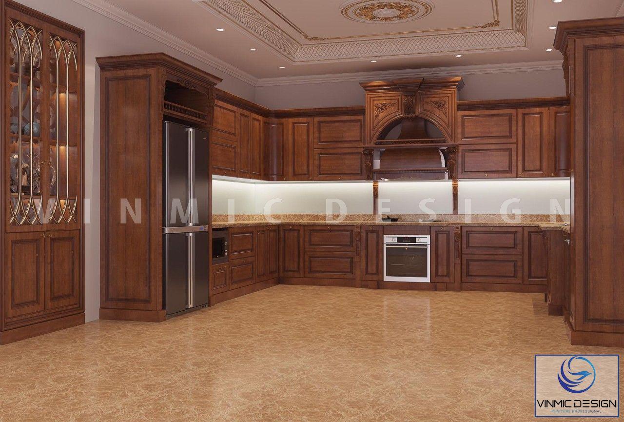 Tủ bếp được thiết kế với chất liệu Gõ Đỏ tự nhiên