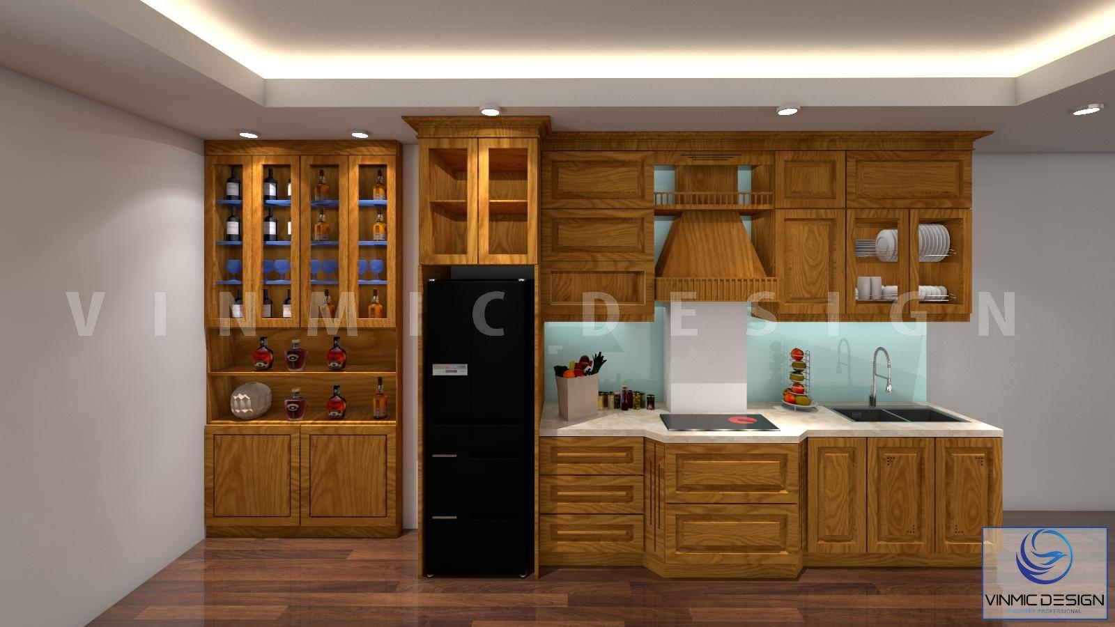 Thiết kế tủ bếp với Sồi Nga