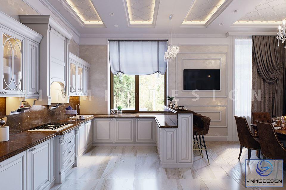 Thiết kế tủ bếp với chất liệu gỗ Sồi tự nhiên sơn trắng