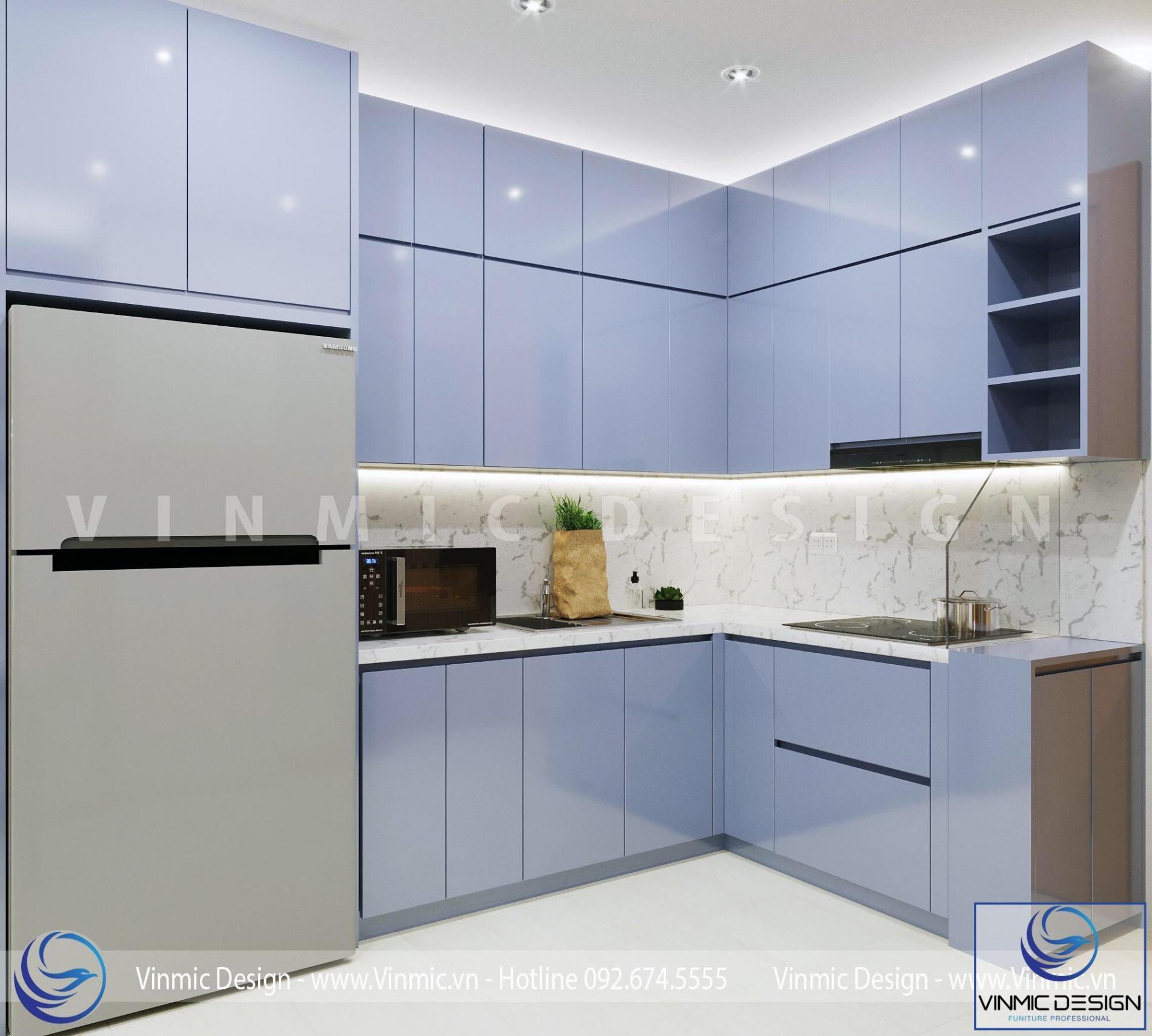 Thiết kế phòng bếp diện tích nhỏ với bề mặt gỗ Acrylic đẹp và sáng