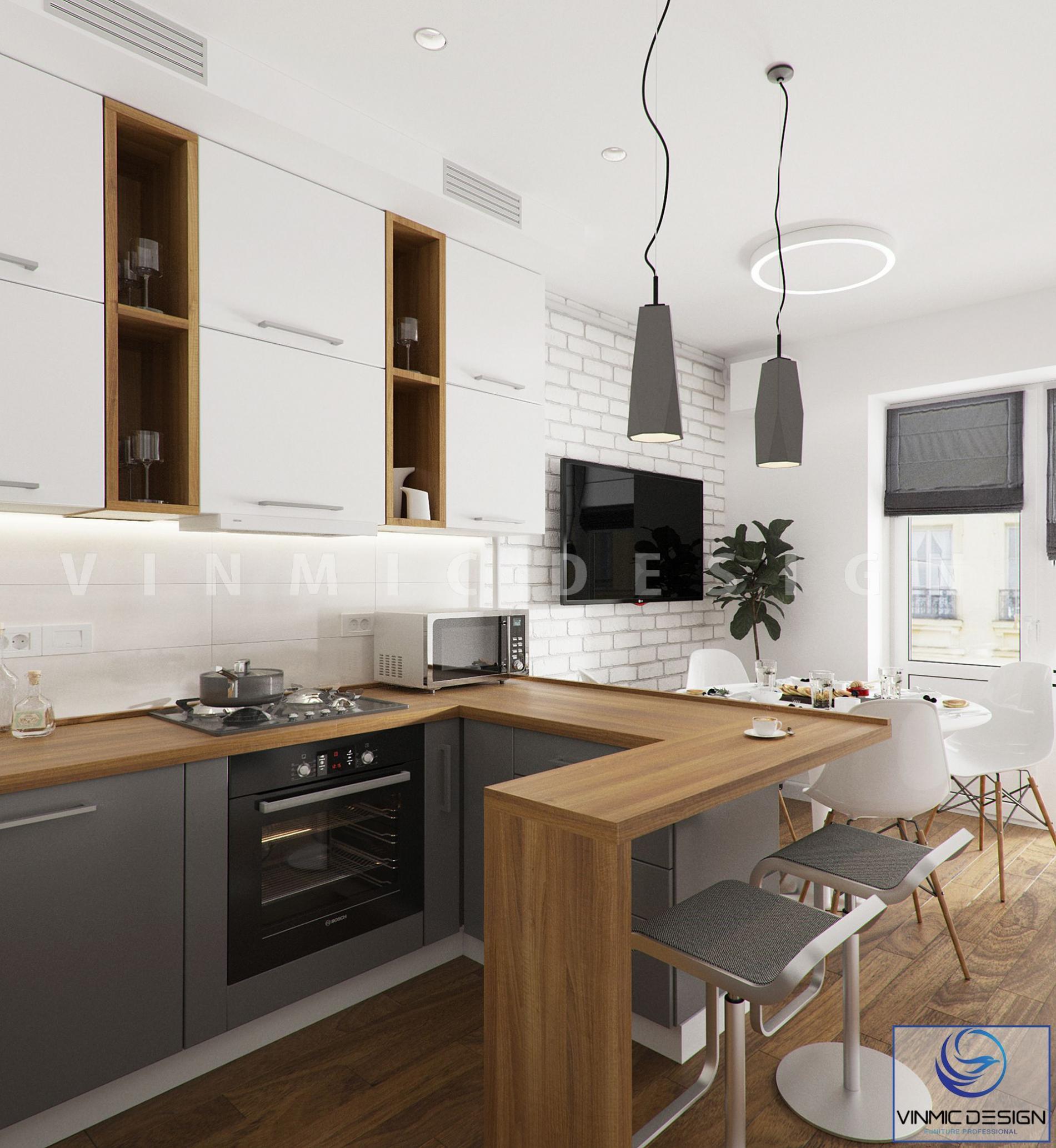 Sắp xếp vật dụng hợp lí, tạo tiện ích cho phòng bếp