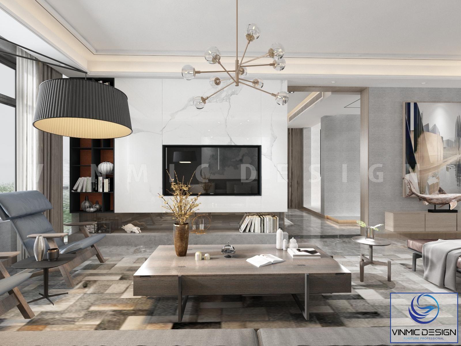 Thiết kế phòng khách với bộ bàn ghế làm điểm nhấn