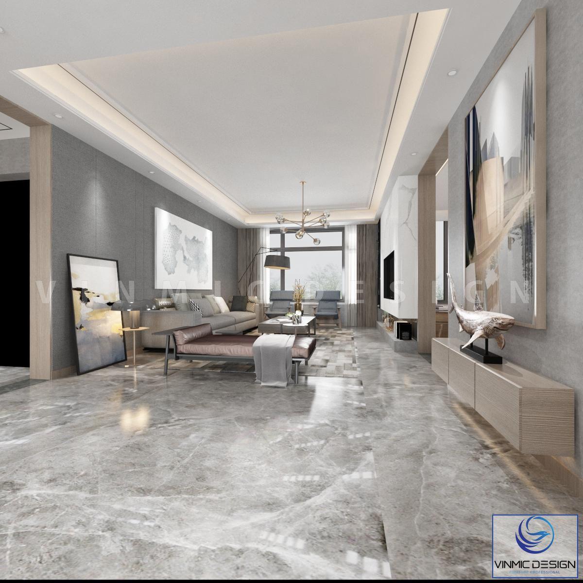 Không gian phòng khách hiện đại với tông màu sáng