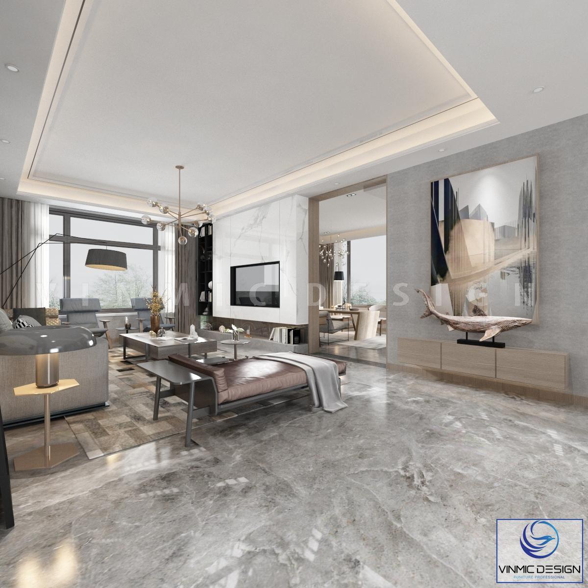 Thiết kế nội thất phòng khách rộng rãi