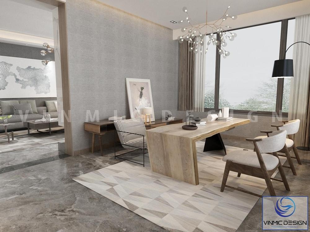 Thiết kế nội thất phòng khách với tông màu ghi hiện đại