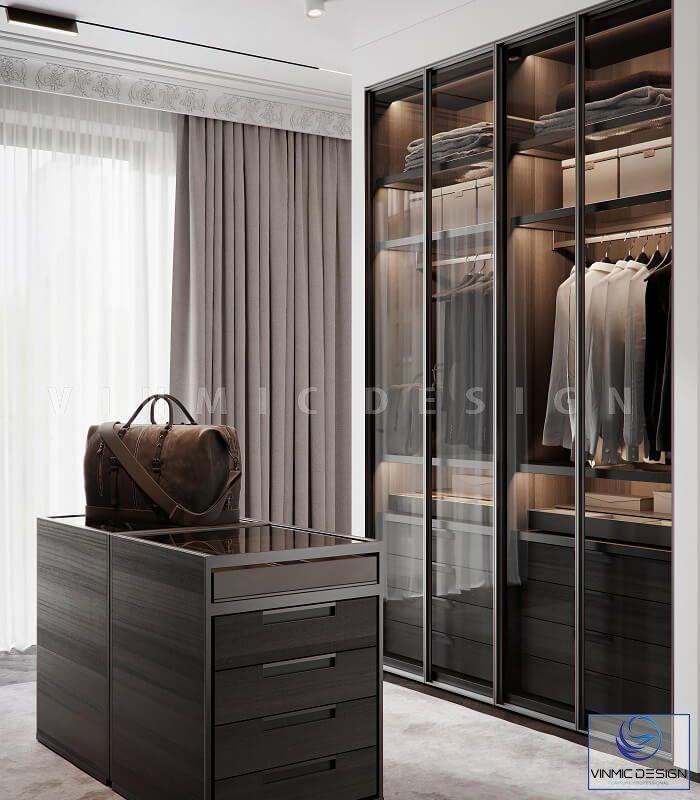 Thiết kế nội thất tủ áo bằng kính trong suốt