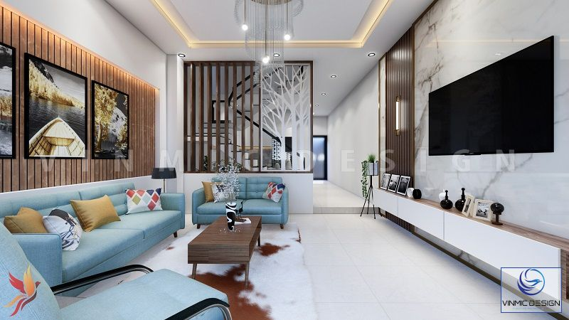 Thiết kế phòng khách nhẹ nhàng hiện đại