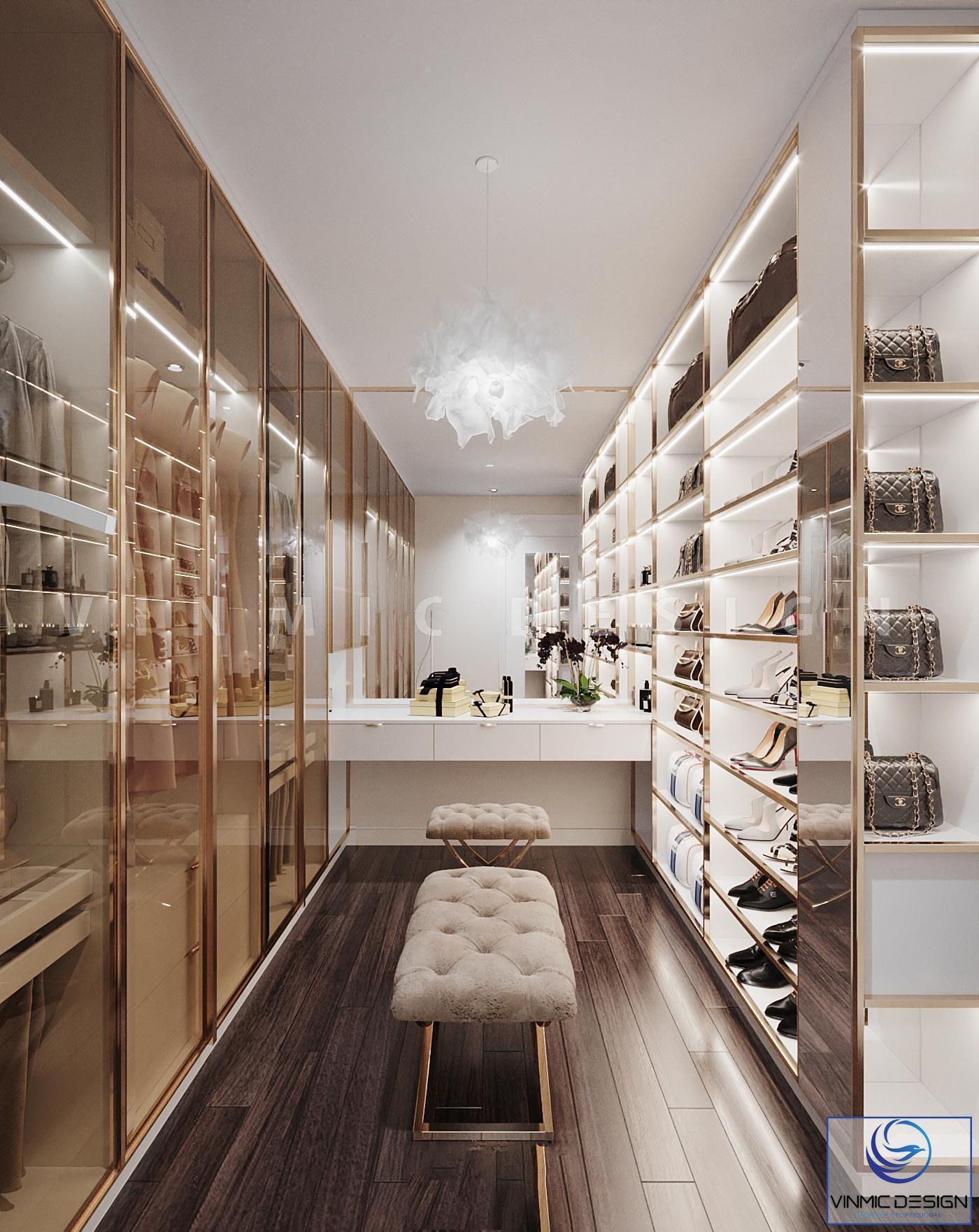 Thiết kế tủ giày kết hợp phòng thay đồ tiện ích