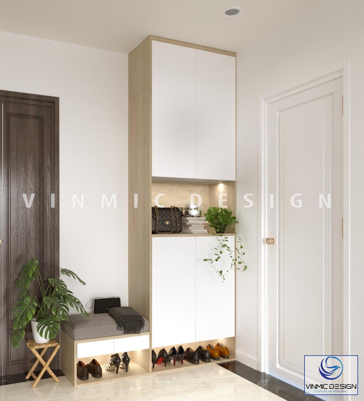 Thiết kế tủ giày đơn giản