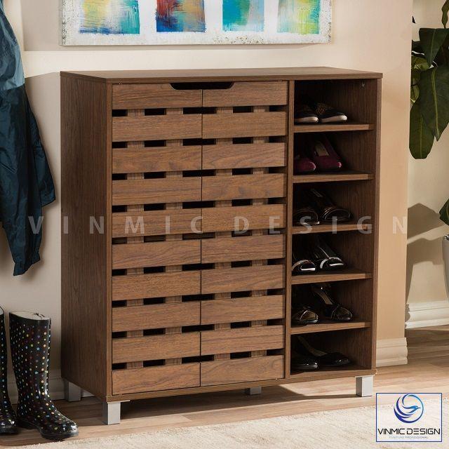 Tủ giày nhỏ nhắn, tiện lợi bằng gỗ xoan đào