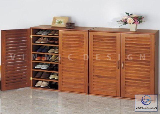 Phong cách gỗ đẹp cho tủ giày