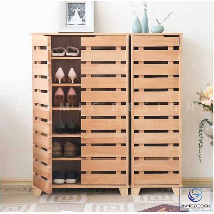 Thiết kế tủ giày bằng gỗ tự nhiên đơn giản, chống ẩm mốc và mùi