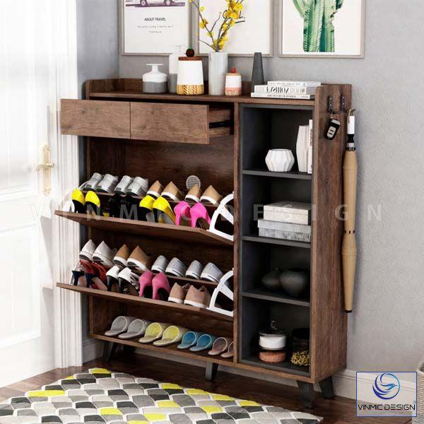 Tủ giày thông minh chân inox, bằng chất liệu gỗ óc chó