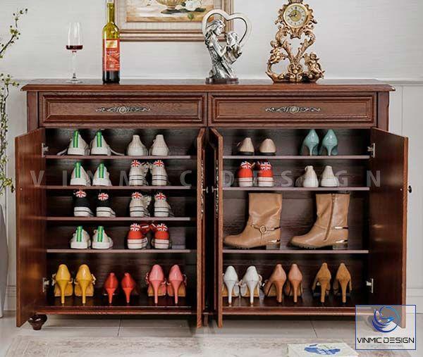 Phong cách tân cổ tủ giày chất liệu gỗ tự nhiên