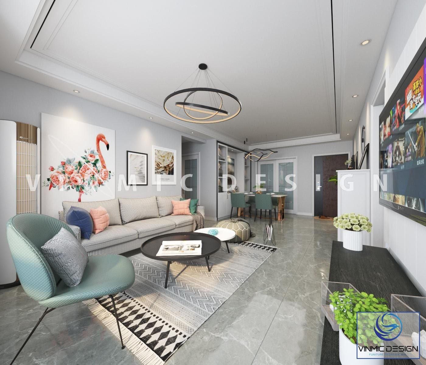 Phong cách scandinavian được thể hiện rất rõ qua không gian phòng khách
