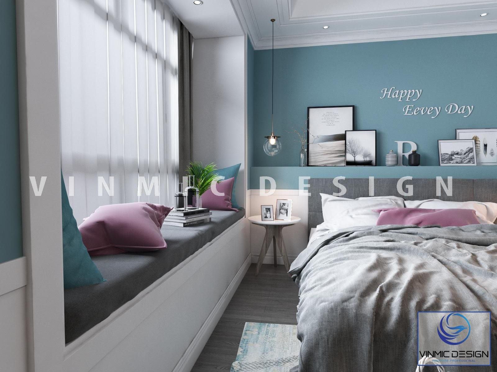 Thiết kế phòng ngủ với đồ trang trí hiện đại, tông màu đậm chất phong cách Scandinavian